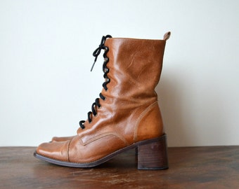 Leather Ankle Boots, Vintage Lace Up Boots, Square Toe, Womens Spring Boots, Size US 8.5 EU 39