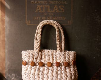 Vintage Woven Straw Purse with Wood Bead Detail and Integrated Change Purse