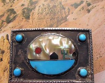 Vintage Sterling Navajo  Belt Buckle Turquoise Cactus Sunset