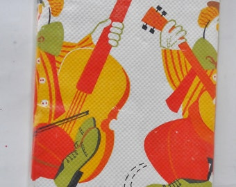 "Vintage Party Maid Happy Birthday Crepe Tablecloth 54"" x 96"" Mint Green Orange Yellow"