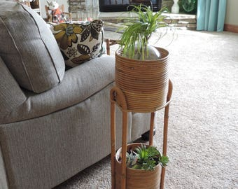 Vintage Bamboo Double Plant Stand Boho Home Decor Plant Holder Plant Display Vintage Plant stand