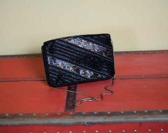 Hot Stripe - Beaded Black Rectangle Fold Over Clutch with Shiny Beaded Stripes and Silver Chain Strap