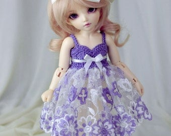 Purple dress for TINY bjd LittleFee Momocolor29/Momotree29, Saintbloom