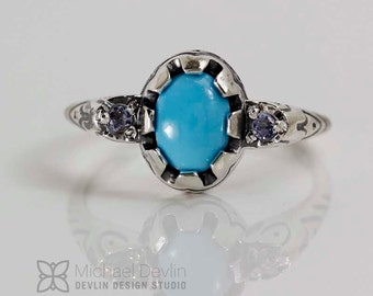 Turquoise ring with Tanzanite
