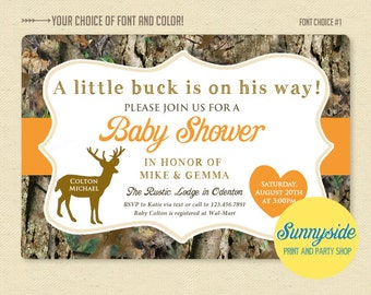 Little Deer Hunter - Camo / Camouflage Baby Shower Invitation - Printable Invite - Buck or Doe