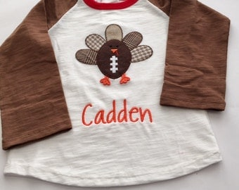 Football Turkey Applique Shirt - Thanksgiving Shirt for the Little Guys by Mud Pie- Personalized