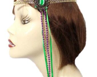 Flapper Headband Mardi Gras Flair Roaring 20's Gatsby Feathered Fascinator Showgirl