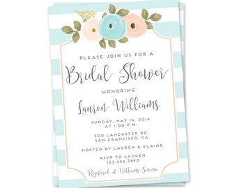 Bridal Shower Invitation, Pretty Wedding Shower Invitation, Printable Bridal Shower Invitation