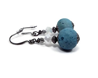 Country Blue and White Drop Earrings with Vintage Beads Gunmetal Plated Retro Modern Design Summer Jewelry