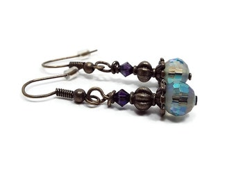 Small Purple Blue Green Drop Earrings Antiqued Brass AB Frosted Peacock Beads and Crystals Retro Style Womens