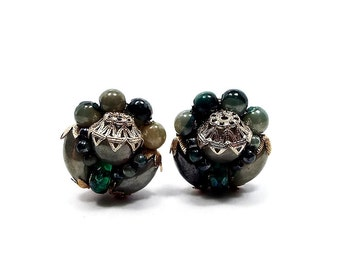 Green Vintage Clip on Earrings Gold Tone Brass Hong Kong Cluster Beaded Button Round Mid Century Mod Jewelry