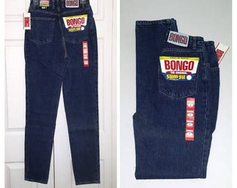 Bang a gong .. vintage 80s jeans / high waist waisted / Bongo skinny slim fit tapered taper /  deadstock NOS /  26 waist 33 inseam tall