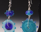 Asymmetrical Blue Light Blue Cobalt Lampworking Beaded Sterling Silver Earrings