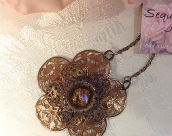 Vintage Filigree Necklace ~ Flower Necklace ~ Pendant Necklace ~ Upcycled Jewelry ~ Bohemian Necklace ~ Long Necklace ~ FREE SHIPPING
