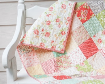 Baby Quilt - Crib Quilt - Strawberry Fields Revisited - READY TO SHIP - Homemade Quilts