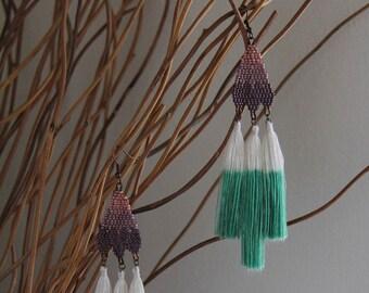 Atelier Ombre Seed Bead Tassel Earrings