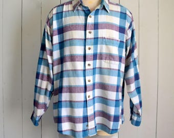 Plaid Button Up - Early 90s Long Sleeve Plaid - Vintage Cotton Button Up Shirt - Blue Purple White - Extra Large XL