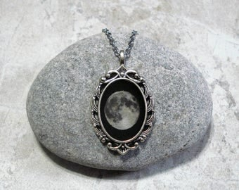 Full Moon Necklace Pendant Jewelry Antique Silver