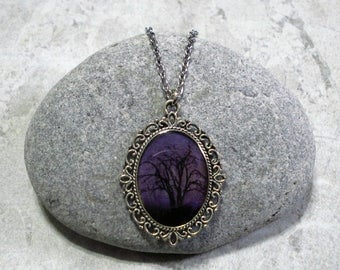 Amethyst Purple Sky Necklace Tree Pendant