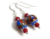Blue & Red Lampwork Earrings, Blue Earrings, Red Earrings, Blue Dangle Earrings, Sterling Silver, Crystal Earrings, Red Dangle Earrings