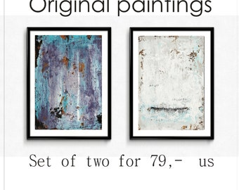 abstract painting set of two acrylic painting nice  original  painting wall art from Jolina anthony