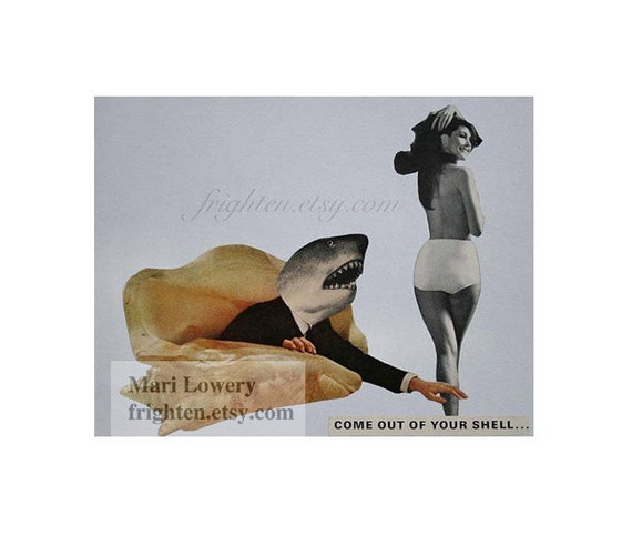 Shark Art 11 x 8.5 Inch Retro Paper Collage Print Funny Wall Decor Black and Light Blue Weird Home Decor