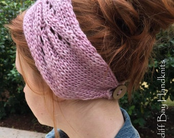 Knitting Pattern,Knit Head Wrap,Knit Headband,Knit Ear Warmer,Messy Bun,Lace,Openwork,Worsted Weight,Pink,Cable Head Wrap,teens,Women,button