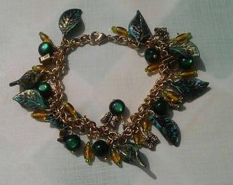Ayla's Bead Creations green leaf butterfly charm cha cha 7 1/4 inch Bracelet