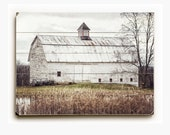 Wood Sign: Farmhouse Decor Wood Planked Art, White Barn, Rustic Wall Art in Wood Planks, Autumn White Barn Art, Barn Wall Art, Country Art.