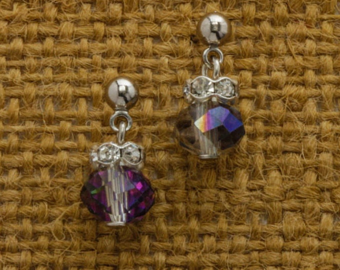 AB Iridescent Bead and Rhinestone Silver Post Earrings Handcrafted 6H