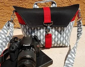 NEW-Camera bag-Digital SLR camera bag-DSLR camera case-womens camera bag-Extra bonus-Strap cover and Back pocket-Passion Red