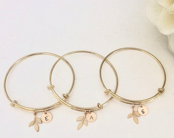 Bridesmaid Bracelet Set / Bridesmaid Bracelet / Bridesmaid Gift /Personalized Gift / Initial Jewelry/ Bridesmaid Bracelet Set of 6/ Set of 3