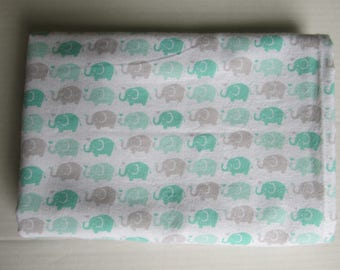 Green Gray Elephants in Rows Extra Large 41 x 41 Handmade Flannel Receiving Swaddle Baby Blanket