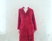 Red Faux Fur Coat 90s Vintage Cherry Red Fake Fur Coat Rave Glam Rock Club Kid Burningman Playa Coat Vegan Fun Fur Coat Santa Festival Coat
