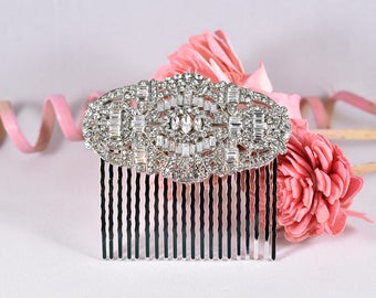 Wedding Hair Comb, Vintage Bridal Hair Accessories, Bridal Hair Comb, Bridal Comb, Art Deco Comb, Wedding Headpiece, Silver Rhinestone Comb