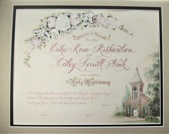 Marriage Certificate with custom art of your church and wedding flowers
