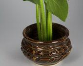 Brown ikebana style flower vase, flower arranger, japanese style of flower arranging. Item 5001