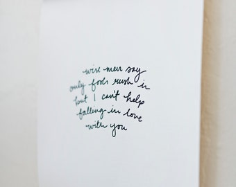 """Hand-Lettered Lyrics Canvas 