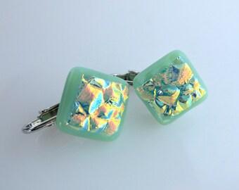 Clip On Dichroic Earrings Mint Green Opal Fire Fused Art Glass Diamond
