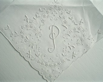 New Hankie with Monogram P Hand Embroidered Madeira Linen Vintage Handkerchief with Label