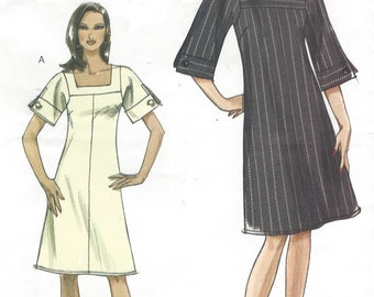 Womens Lined A Line Dress Square Neckline Sleeve Variations OOP Vogue Sewing Pattern V8442 Size 14 16 18 20 Bust 36 38 40 42 UnCut Very Easy