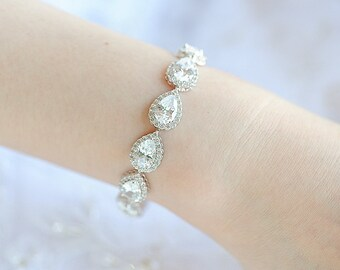 Crystal Wedding Bracelet, Rose Gold Bridal Bracelet, Teardrop Crystal Bracelet, Wedding Bridal Jewelry, Gold, Pear Halo Bracelet Cuff, ANYA