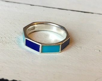Vintage Sterling Silver Turquoise and Blue Enamel Ring. Vintage Turquoise & Blue Ring. Stacking Ring. Multi Color Enamel Ring - Size 4.5