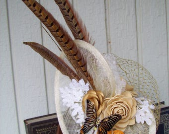 Fascinator (F710) Races and Kentucky Derby and Wedding Mini Hat, White Cream Gold, Handmade Rosettes and Butterfly, Swarovski Crystals
