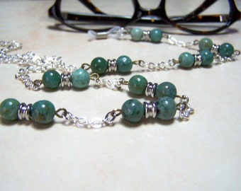 African Jade Beaded Eyeglasses Holder on Silver Chain 26 Inches