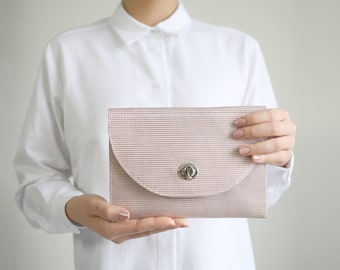 Buckle Clutch Rose Copper Leather, bridal clutch, rose leather clutch, evening bag, leather purse, crossbody bag