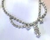 Sparkly Antique Retro Old Crystal VTG Vintage Rhinestone Necklace, vintage rhinestone necklace lot, crystal rhinestone necklace