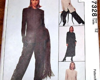 Jones NY Designer Sewing Pattern McCall's 7328 Jacket, Tunic, BroomstickCrinkle Skirt, Palazzo Pants Womens Misses Size 12 Bust 34 Uncut FF