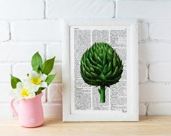 Summer Sale Vintage Book Print Dictionary or Encyclopedia Page Print Book print Artichoke Botanical studio print on Vintage BFL073