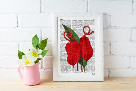 Spring Sale Red Anthurium flower- Vintage Botanical studio print on Vintage Dictionary Book page BPBB056